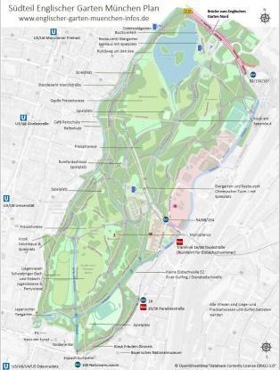 Englischer Garten Karte und Plan Südteil
