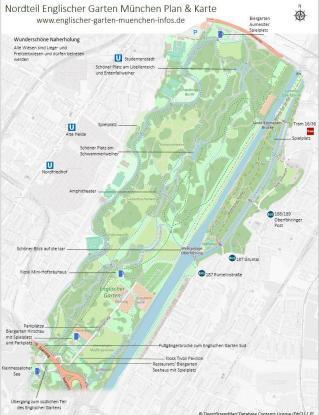 Englischer Garten München Karte & Plan Nordteil