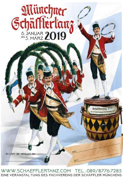 Plakat Münchner Schäfflertanz 2019