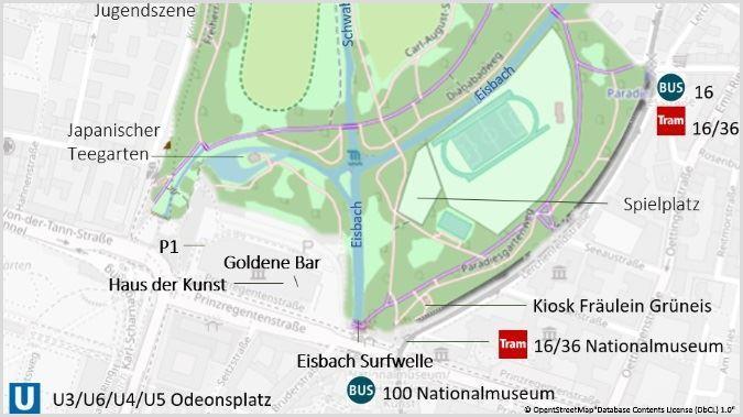 Englischer Garten München Karte & Plan - Eisbachwelle und Umgebung