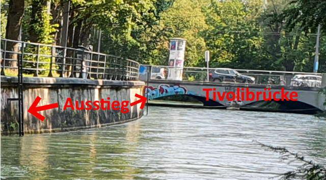 Ausstiegsleiter vor der Tivolibrücke